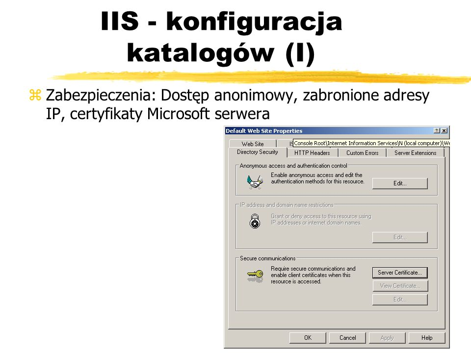IIS - konfiguracja katalogów (I)