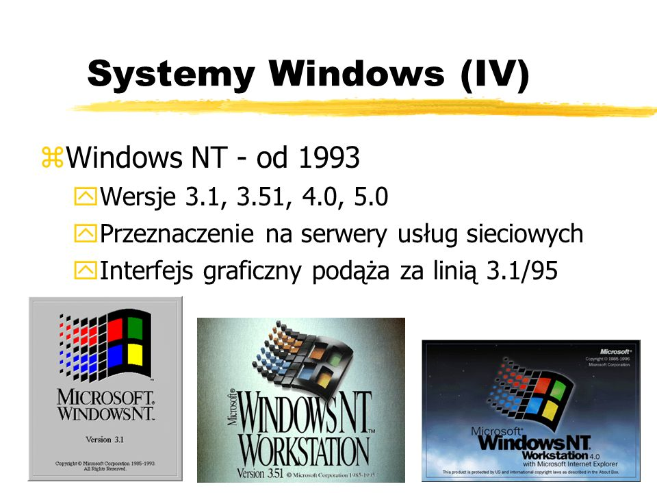 Systemy Windows (IV) Windows NT - od 1993 Wersje 3.1, 3.51, 4.0, 5.0