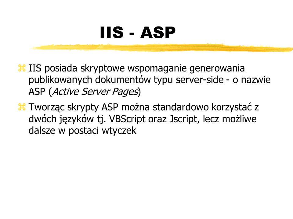IIS - ASP IIS posiada skryptowe wspomaganie generowania publikowanych dokumentów typu server-side - o nazwie ASP (Active Server Pages)