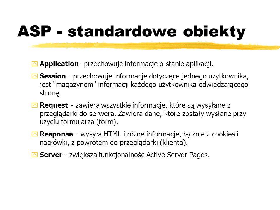 ASP - standardowe obiekty