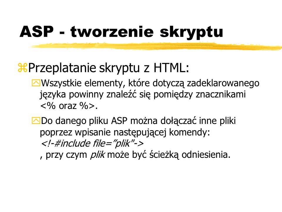 ASP - tworzenie skryptu