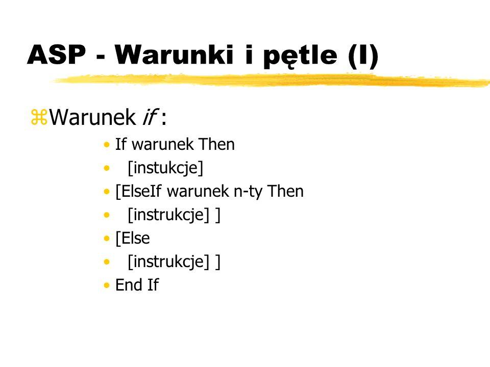 ASP - Warunki i pętle (I)