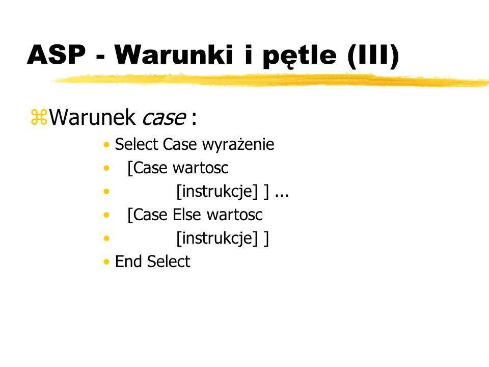 ASP - Warunki i pętle (III)