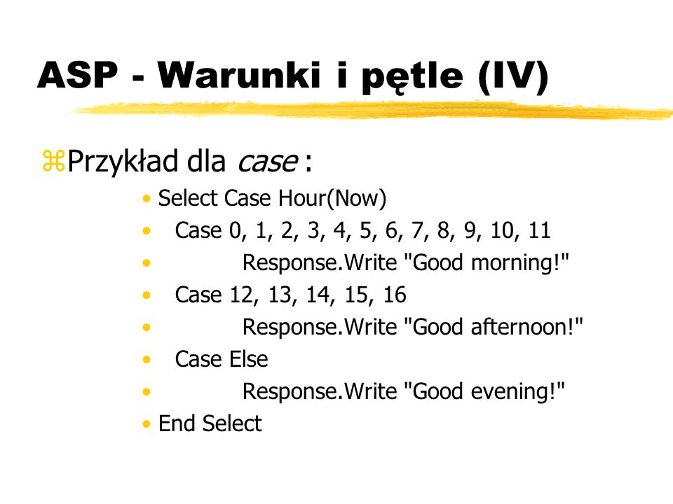 ASP - Warunki i pętle (IV)