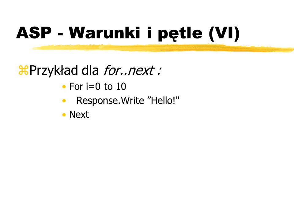 ASP - Warunki i pętle (VI)