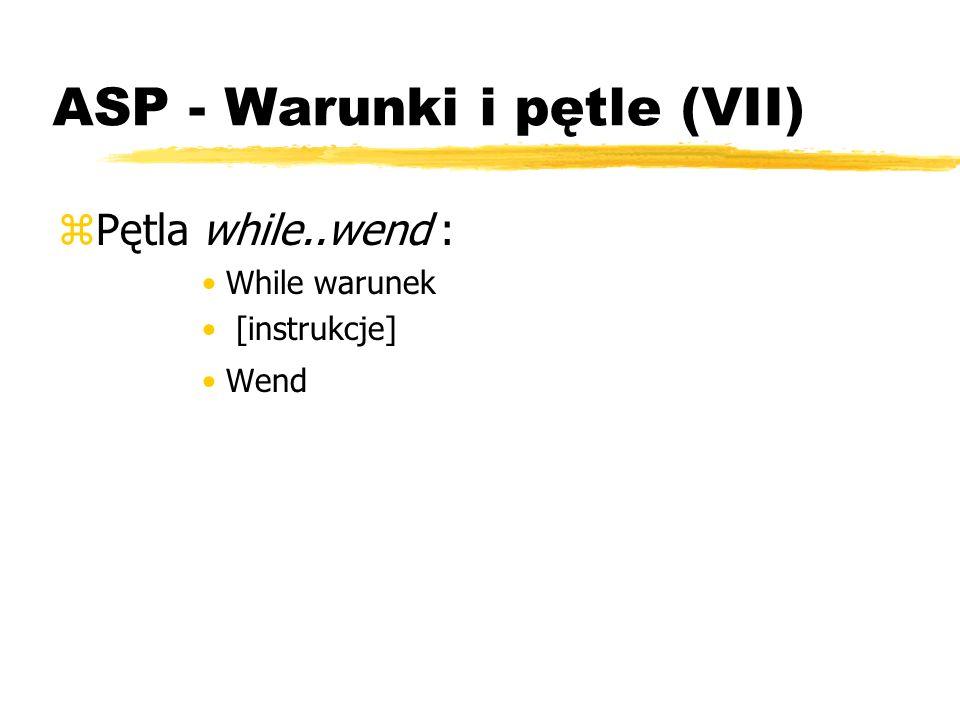 ASP - Warunki i pętle (VII)
