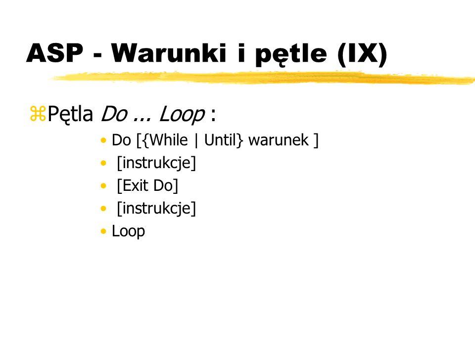 ASP - Warunki i pętle (IX)