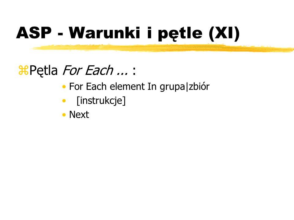 ASP - Warunki i pętle (XI)