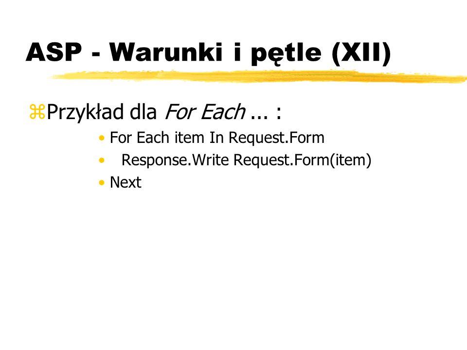 ASP - Warunki i pętle (XII)