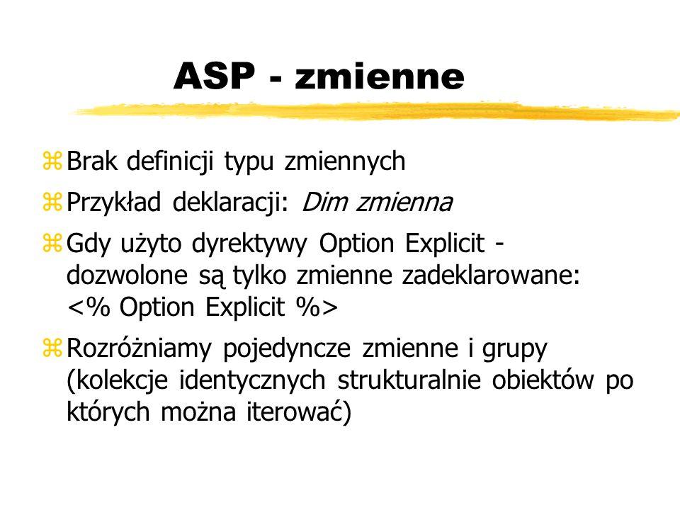 ASP - zmienne Brak definicji typu zmiennych