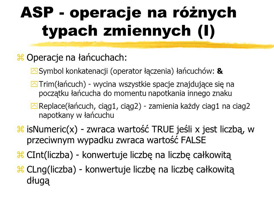ASP - operacje na różnych typach zmiennych (I)