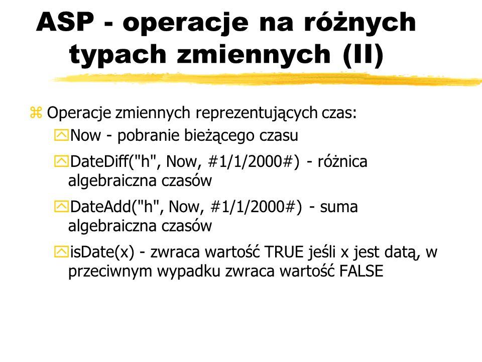 ASP - operacje na różnych typach zmiennych (II)
