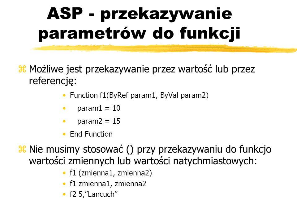 ASP - przekazywanie parametrów do funkcji