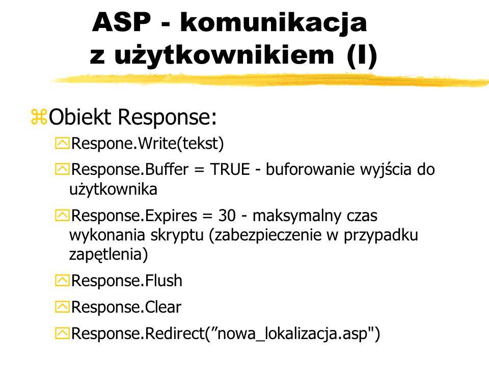 ASP - komunikacja z użytkownikiem (I)