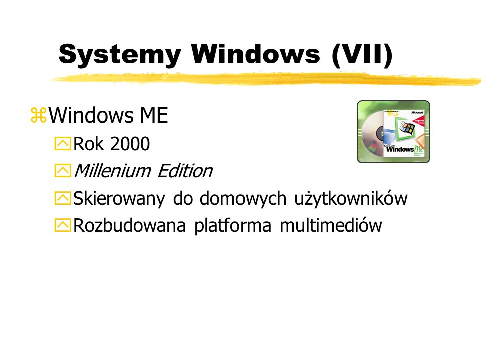 Systemy Windows (VII) Windows ME Rok 2000 Millenium Edition