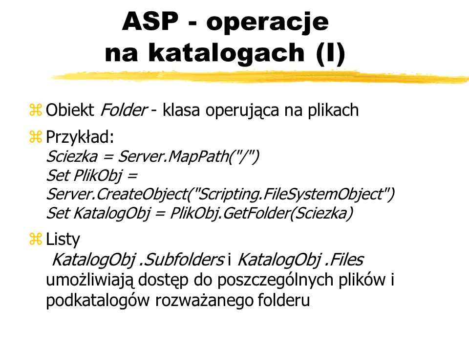 ASP - operacje na katalogach (I)