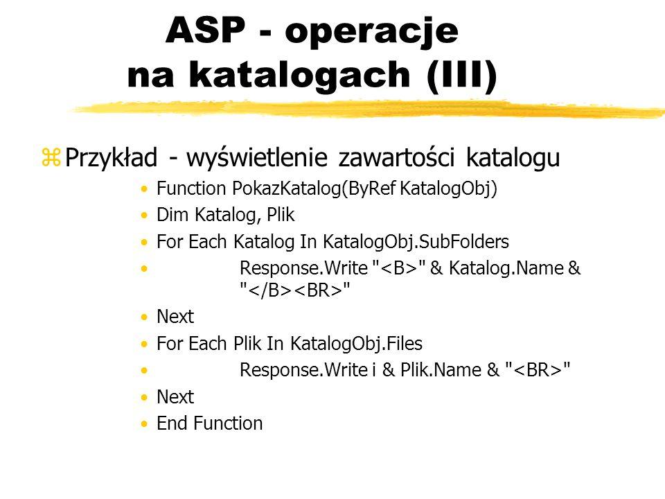 ASP - operacje na katalogach (III)