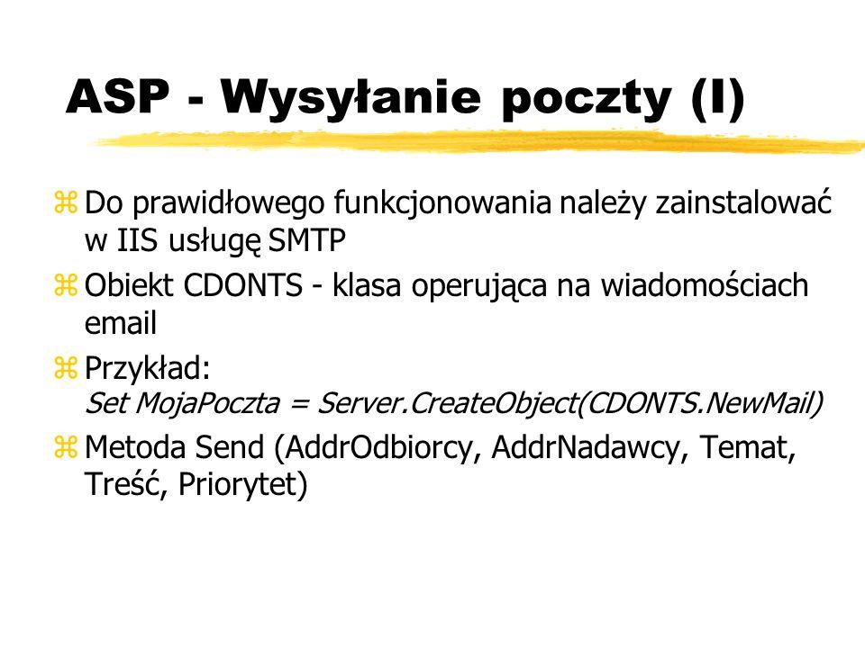 ASP - Wysyłanie poczty (I)