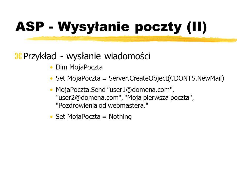 ASP - Wysyłanie poczty (II)