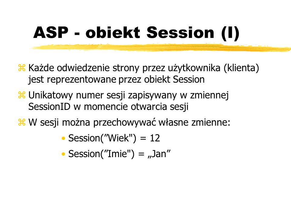 ASP - obiekt Session (I)