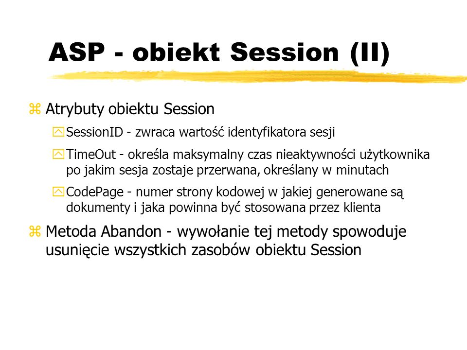 ASP - obiekt Session (II)