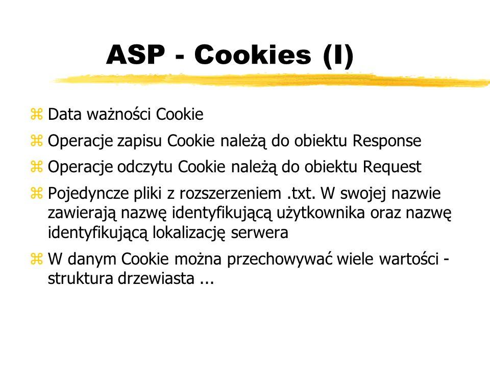 ASP - Cookies (I) Data ważności Cookie
