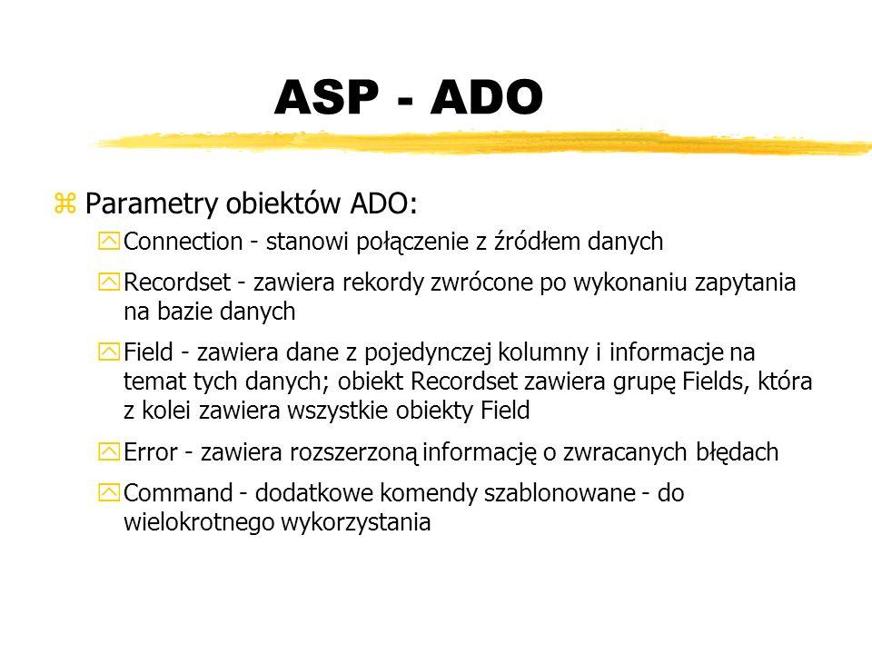 ASP - ADO Parametry obiektów ADO: