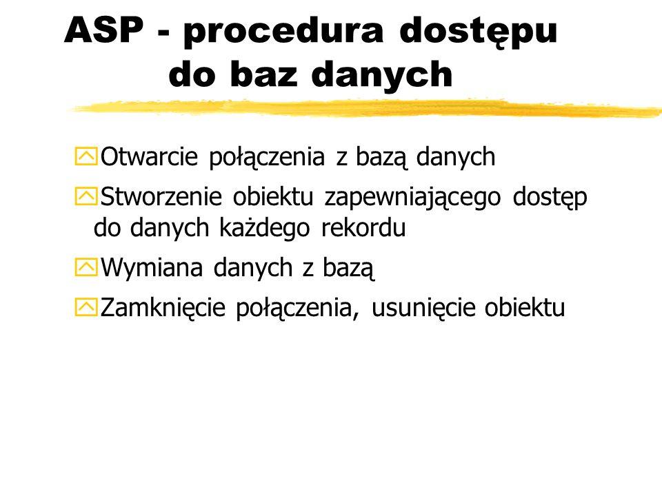 ASP - procedura dostępu do baz danych