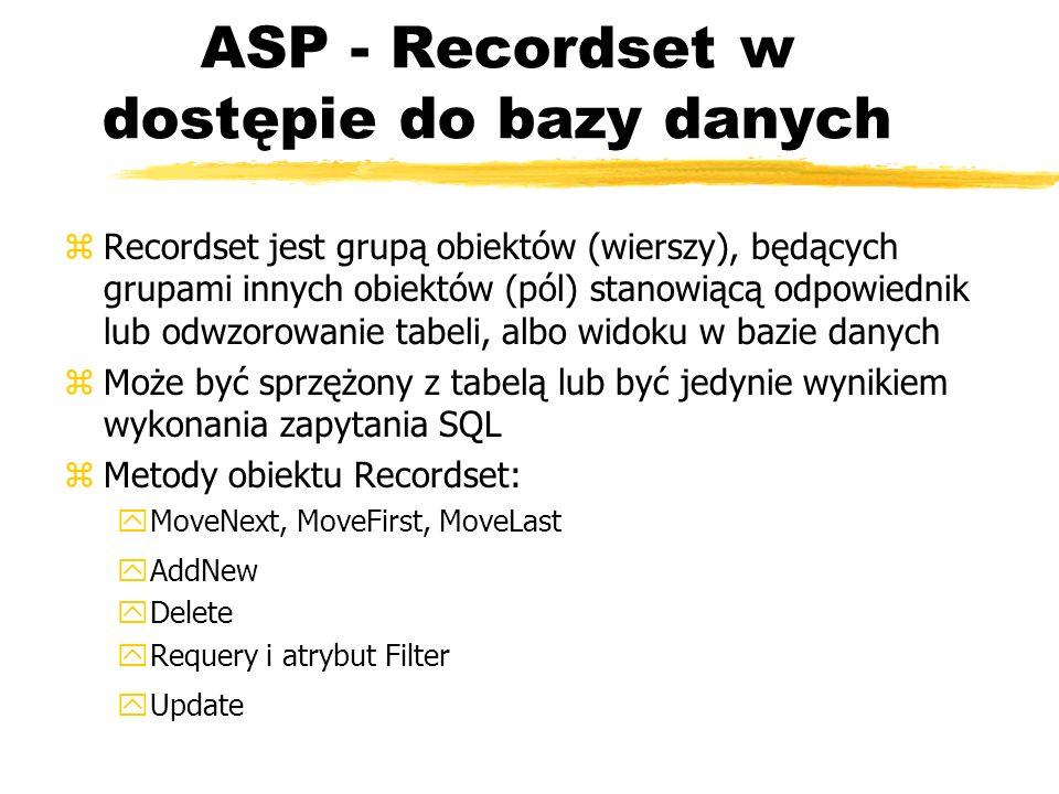 ASP - Recordset w dostępie do bazy danych