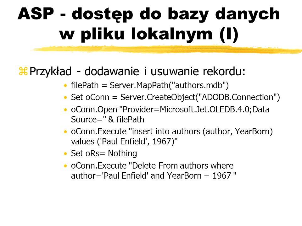 ASP - dostęp do bazy danych w pliku lokalnym (I)