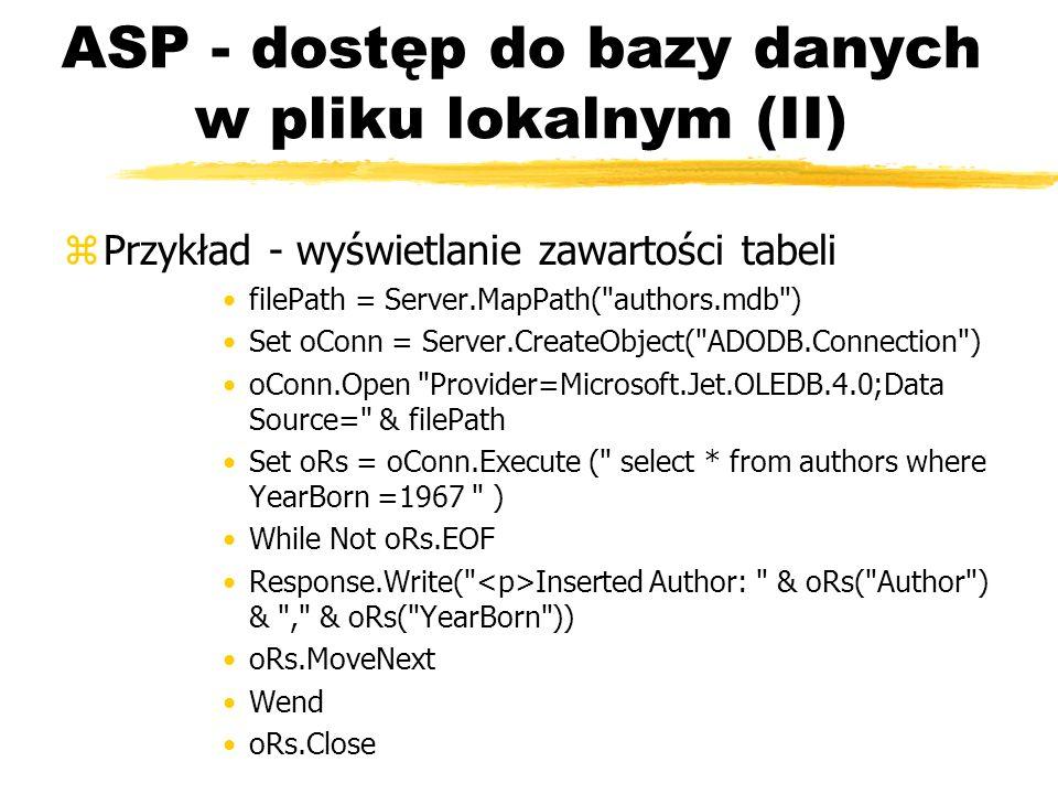 ASP - dostęp do bazy danych w pliku lokalnym (II)
