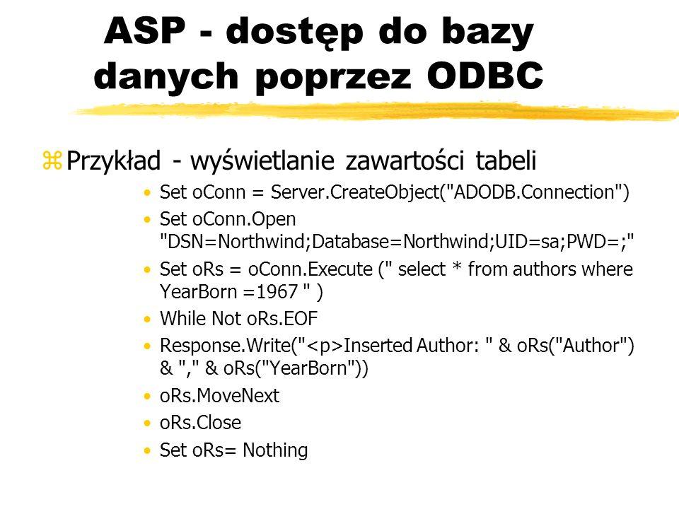 ASP - dostęp do bazy danych poprzez ODBC