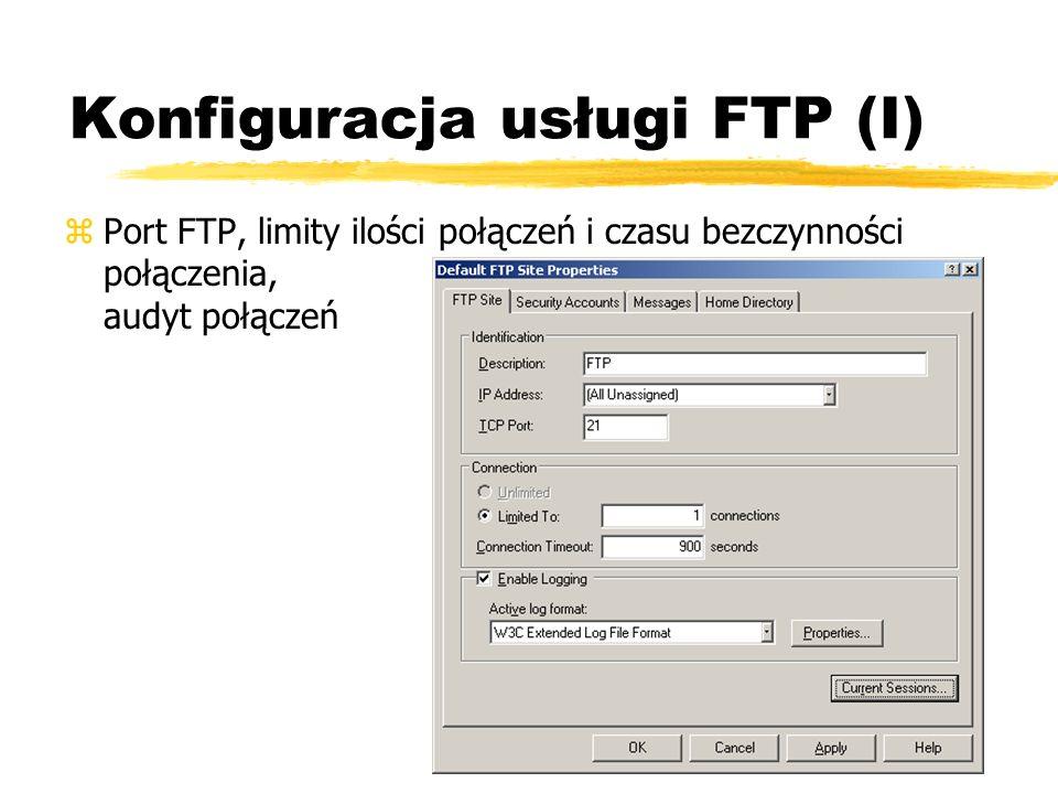 Konfiguracja usługi FTP (I)