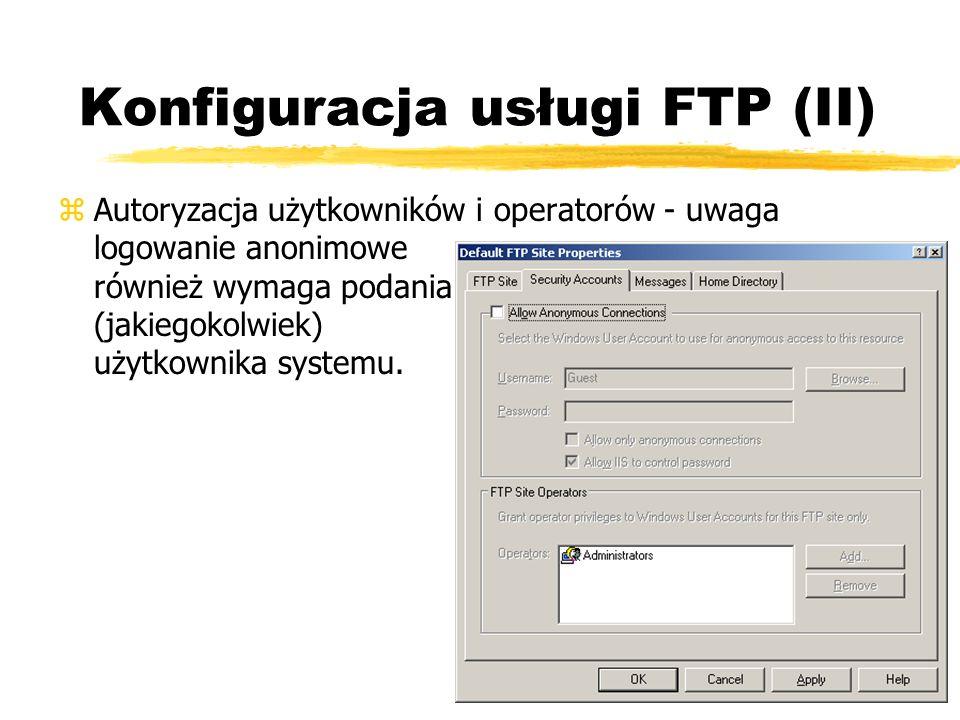 Konfiguracja usługi FTP (II)