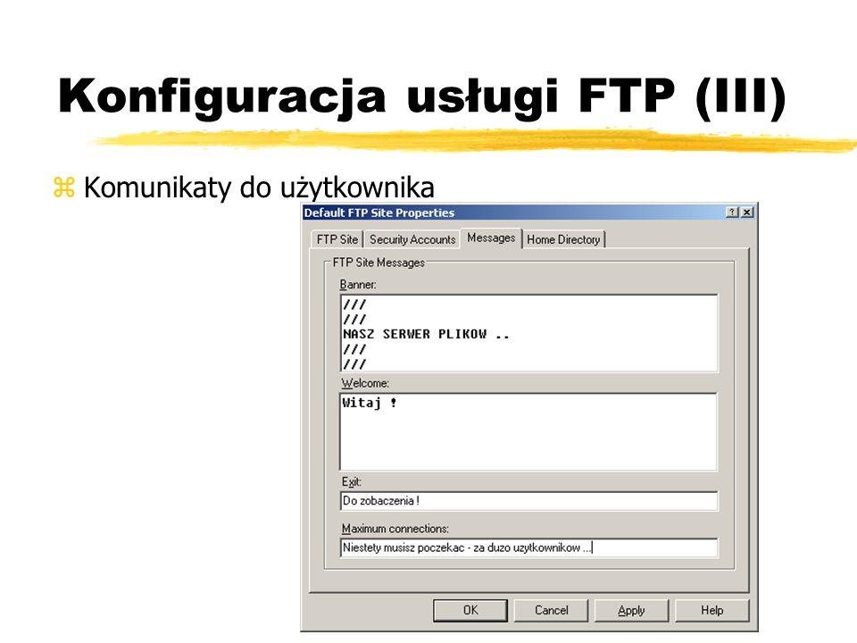 Konfiguracja usługi FTP (III)