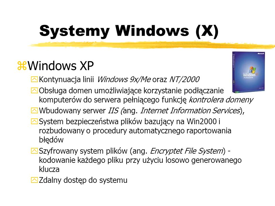 Systemy Windows (X) Windows XP