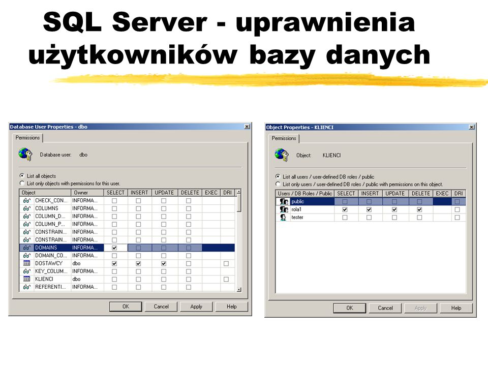 SQL Server - uprawnienia użytkowników bazy danych