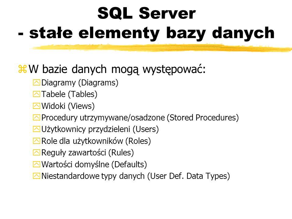 SQL Server - stałe elementy bazy danych