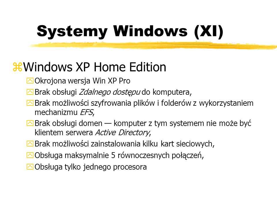 Systemy Windows (XI) Windows XP Home Edition
