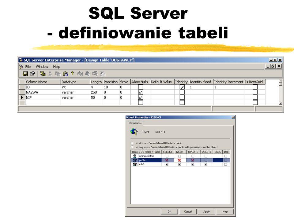 SQL Server - definiowanie tabeli