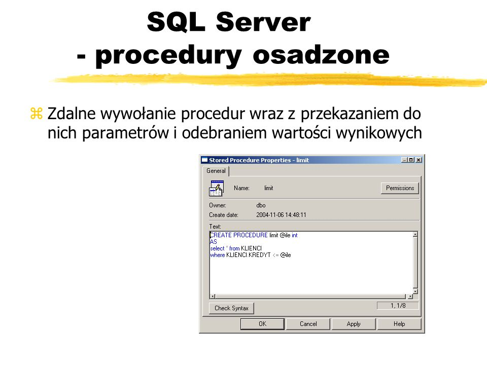 SQL Server - procedury osadzone