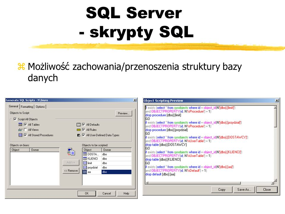 SQL Server - skrypty SQL