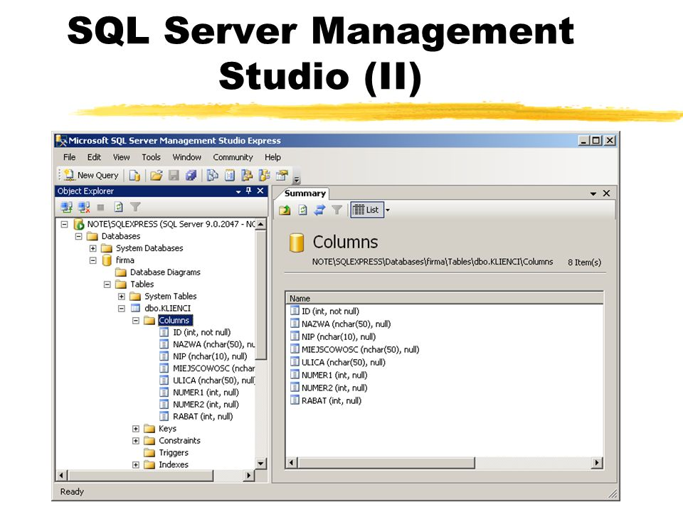 SQL Server Management Studio (II)
