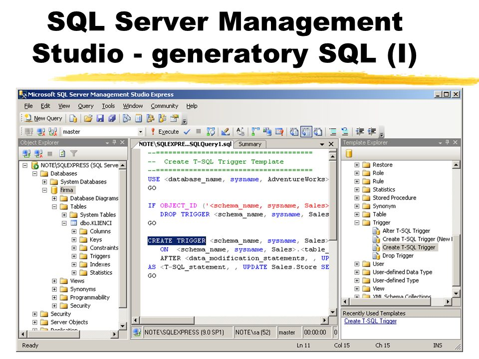 SQL Server Management Studio - generatory SQL (I)