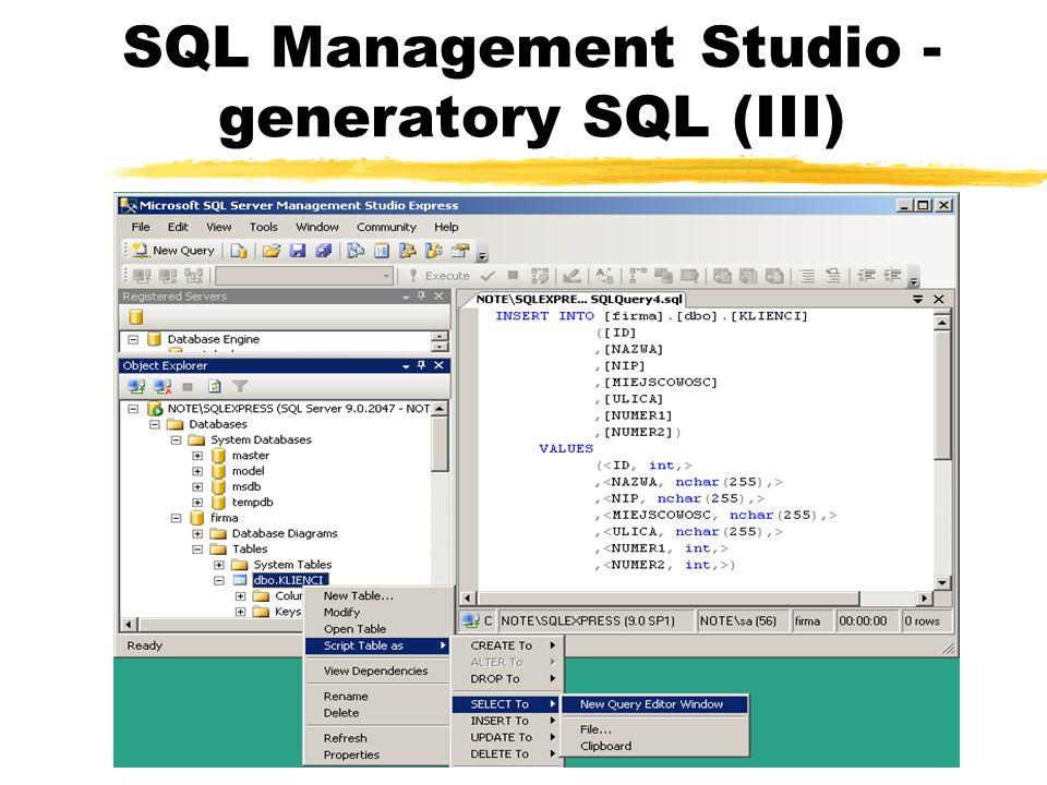 SQL Management Studio - generatory SQL (III)