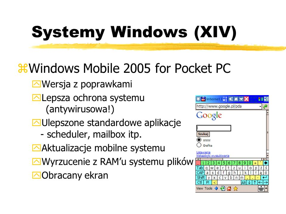 Systemy Windows (XIV) Windows Mobile 2005 for Pocket PC