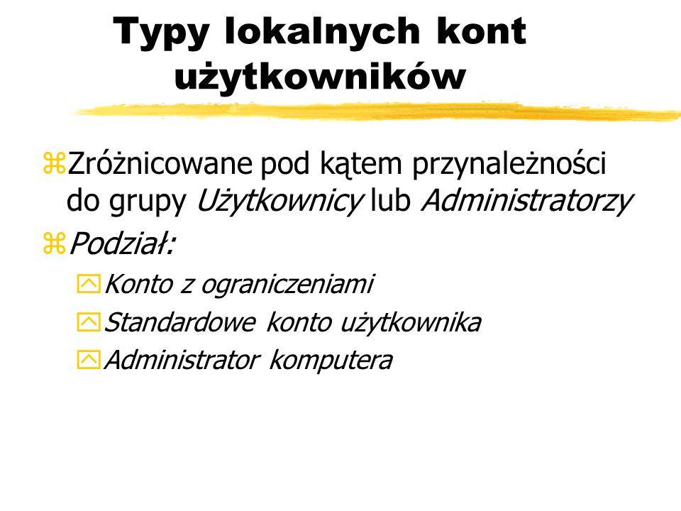 Typy lokalnych kont użytkowników