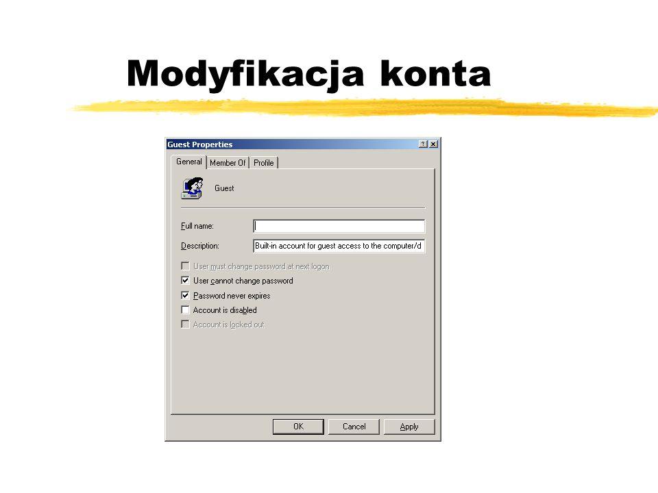 Modyfikacja konta