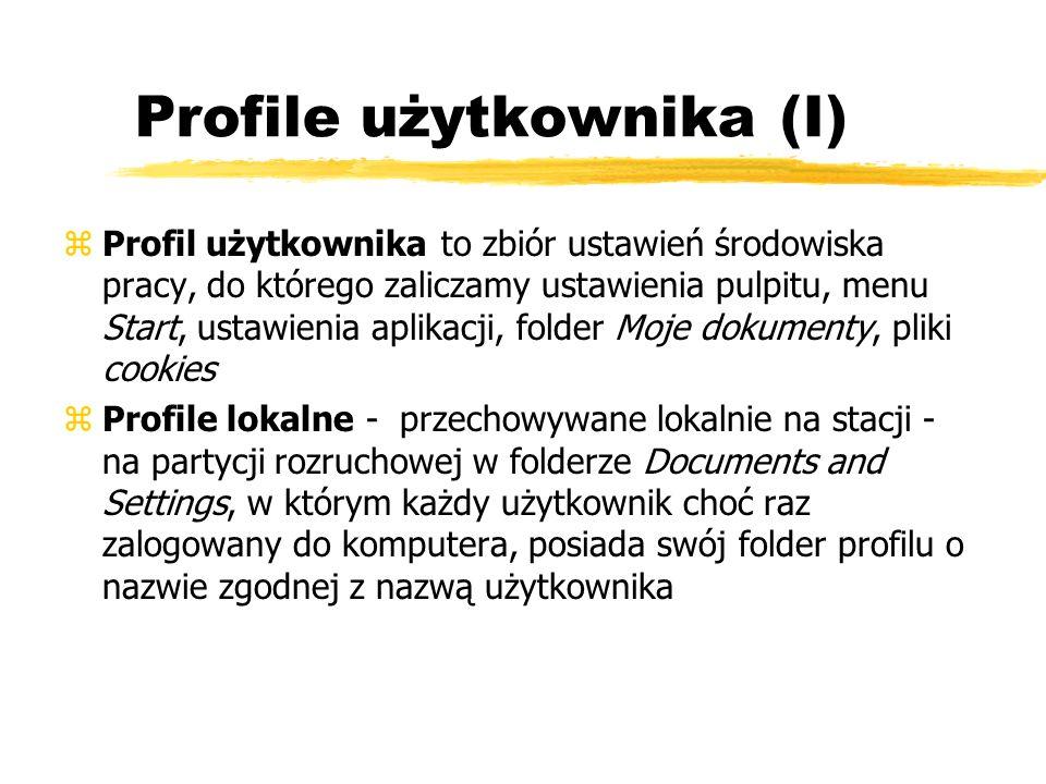Profile użytkownika (I)