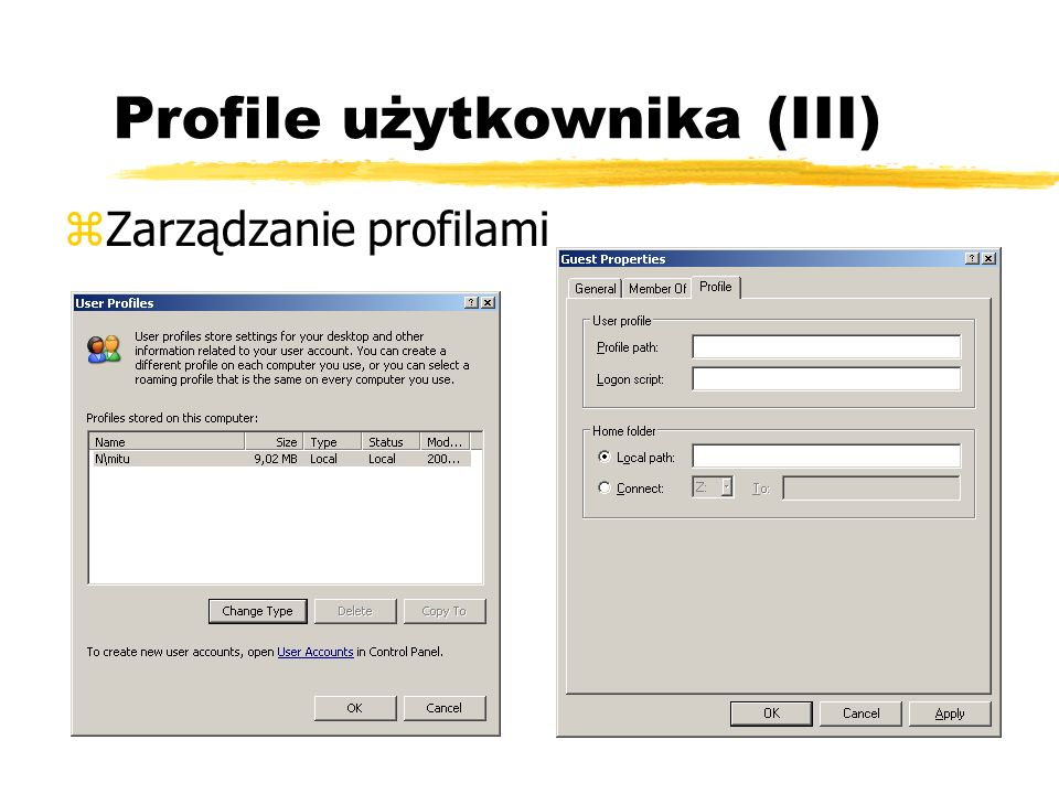 Profile użytkownika (III)